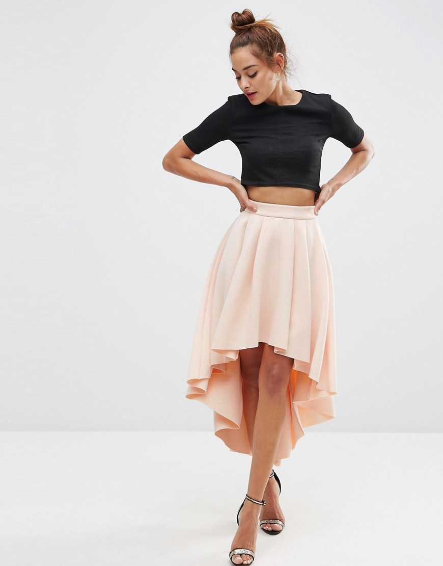 Premium Scuba High Low Prom Skirt Nude - pattern: plain; fit: loose/voluminous; waist: high rise; predominant colour: blush; length: just above the knee; style: asymmetric (hem); fibres: polyester/polyamide - 100%; occasions: occasion; pattern type: fabric; texture group: other - light to midweight; season: s/s 2016; wardrobe: event