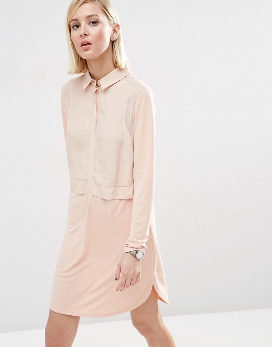 Woven Mix Shirt Dress Blush - style: shift; neckline: shirt collar/peter pan/zip with opening; pattern: plain; predominant colour: blush; occasions: casual, creative work; length: just above the knee; fit: body skimming; fibres: polyester/polyamide - 100%; sleeve length: long sleeve; sleeve style: standard; pattern type: fabric; texture group: other - light to midweight; season: s/s 2016; wardrobe: basic