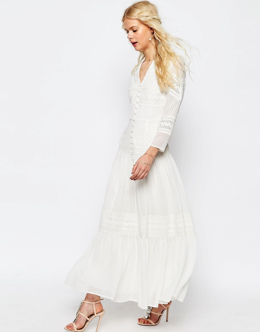 Maxi Dress With Lace And Crochet Inserts White - neckline: v-neck; pattern: plain; style: maxi dress; length: ankle length; predominant colour: white; occasions: evening; fit: fitted at waist & bust; fibres: polyester/polyamide - 100%; sleeve length: long sleeve; sleeve style: standard; texture group: sheer fabrics/chiffon/organza etc.; pattern type: fabric; embellishment: lace; season: s/s 2016; wardrobe: event; embellishment location: trim