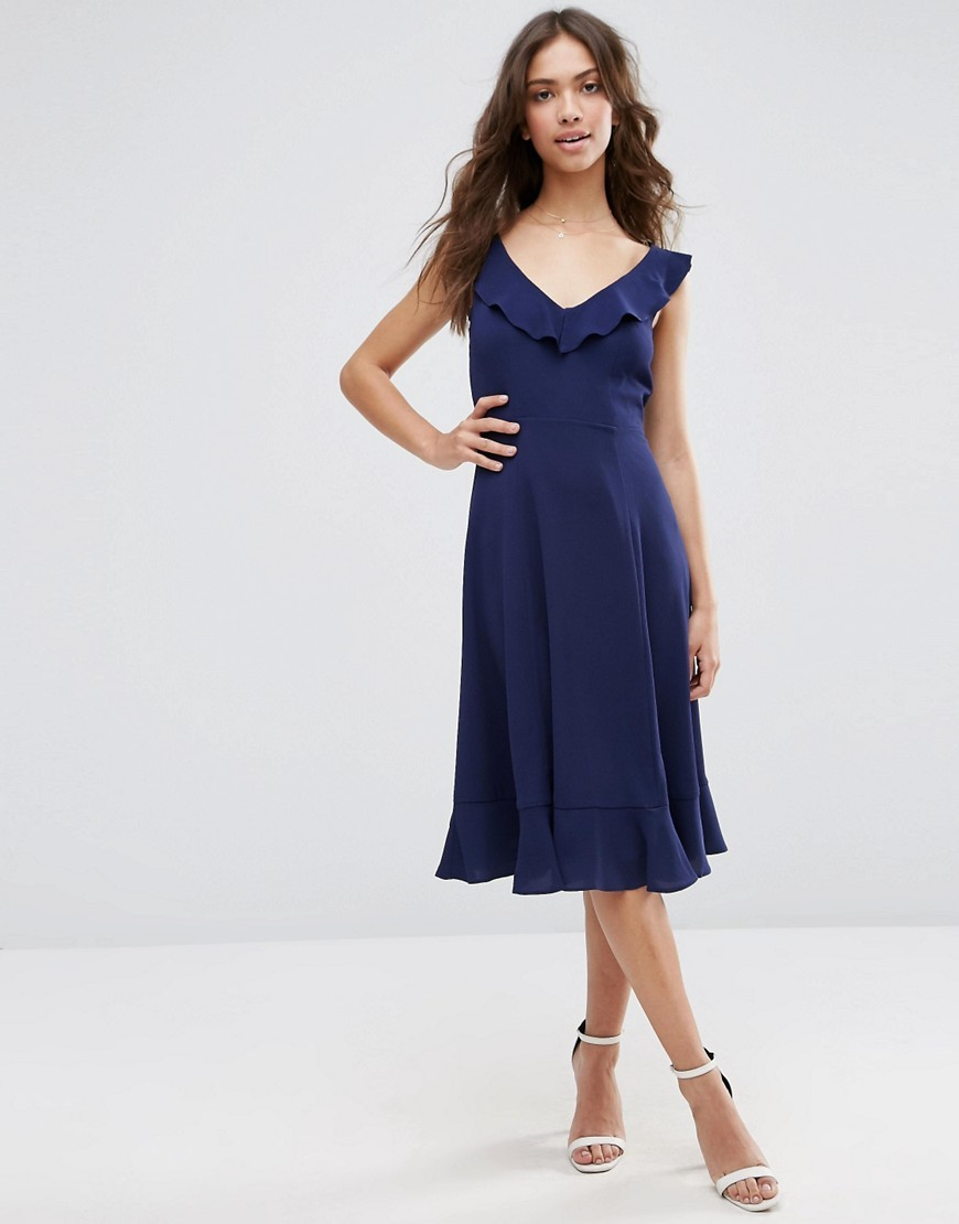 Midi Skater Dress With Frill Detail Navy - length: below the knee; neckline: low v-neck; sleeve style: capped; pattern: plain; waist detail: fitted waist; predominant colour: navy; fit: fitted at waist & bust; style: fit & flare; fibres: polyester/polyamide - 100%; occasions: occasion, creative work; hip detail: subtle/flattering hip detail; sleeve length: sleeveless; texture group: crepes; bust detail: bulky details at bust; pattern type: fabric; season: s/s 2016; wardrobe: highlight