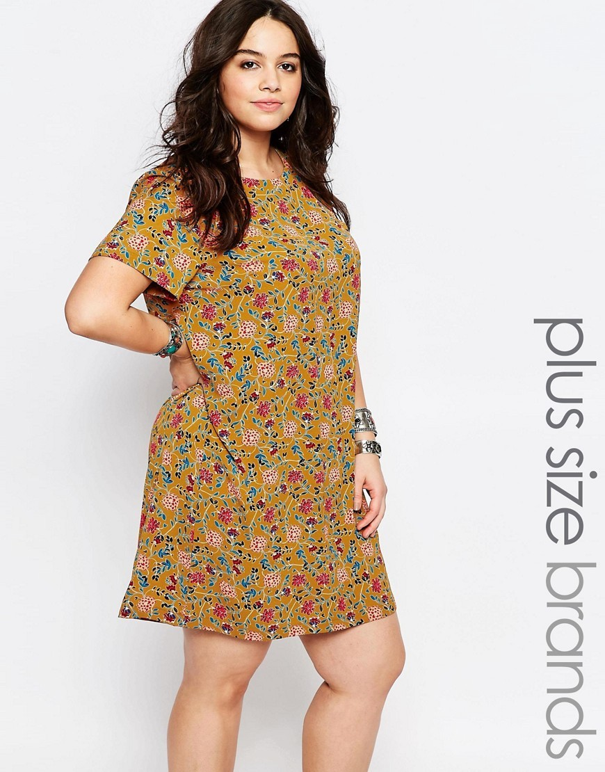 Retro Floral Shift Dress Multi - style: tunic; length: mid thigh; neckline: round neck; secondary colour: pink; predominant colour: mustard; occasions: casual, creative work; fit: straight cut; fibres: polyester/polyamide - 100%; sleeve length: short sleeve; sleeve style: standard; pattern type: fabric; pattern: patterned/print; texture group: woven light midweight; multicoloured: multicoloured; season: s/s 2016; wardrobe: highlight