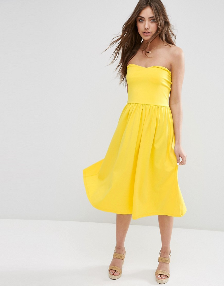Bandeau Midi Sundress Yellow - length: below the knee; neckline: strapless (straight/sweetheart); pattern: plain; sleeve style: sleeveless; predominant colour: yellow; fit: fitted at waist & bust; style: fit & flare; fibres: cotton - stretch; occasions: occasion; sleeve length: sleeveless; pattern type: fabric; texture group: jersey - stretchy/drapey; season: s/s 2016; wardrobe: event