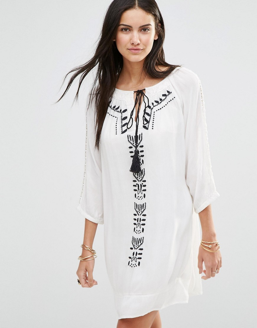 Long Sleeve Tunic Dress With Embroirded Panel Off White/Black - style: tunic; length: mid thigh; neckline: round neck; predominant colour: white; secondary colour: black; occasions: casual, holiday; fit: straight cut; fibres: viscose/rayon - 100%; sleeve length: 3/4 length; sleeve style: standard; texture group: cotton feel fabrics; pattern type: fabric; pattern: patterned/print; embellishment: embroidered; season: s/s 2016; wardrobe: highlight; embellishment location: pattern