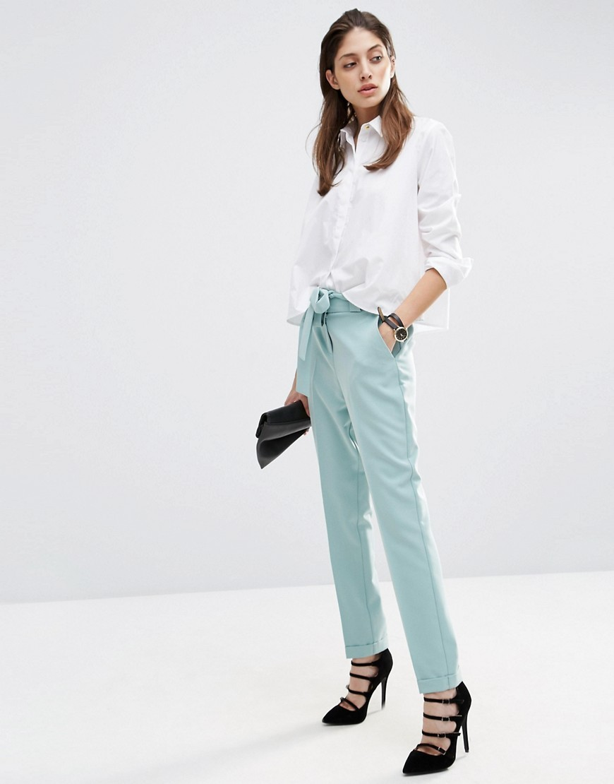 Cigarette Trousers With Tie Waist Mint - length: standard; pattern: plain; waist: mid/regular rise; predominant colour: pale blue; fibres: polyester/polyamide - stretch; fit: slim leg; pattern type: fabric; texture group: other - light to midweight; style: standard; occasions: creative work; season: s/s 2016; wardrobe: highlight