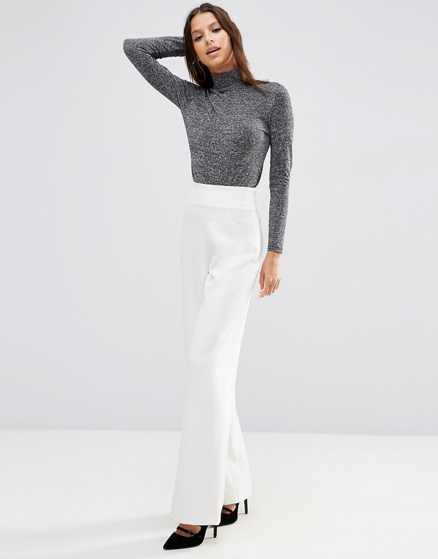 Super High Waist Trouser With Wide Leg White - length: standard; pattern: plain; waist: mid/regular rise; predominant colour: white; fibres: polyester/polyamide - mix; fit: wide leg; pattern type: fabric; texture group: other - light to midweight; style: standard; occasions: creative work; season: s/s 2016; wardrobe: basic