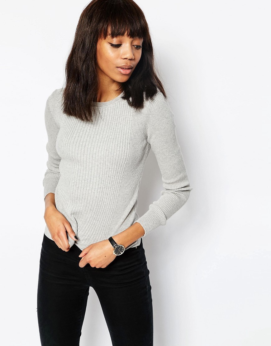 Jumper In Rib With Crew Neck Grey - pattern: plain; style: standard; predominant colour: light grey; occasions: casual, work, creative work; length: standard; fibres: cotton - mix; fit: slim fit; neckline: crew; sleeve length: long sleeve; sleeve style: standard; texture group: knits/crochet; pattern type: knitted - fine stitch; season: s/s 2016; wardrobe: basic