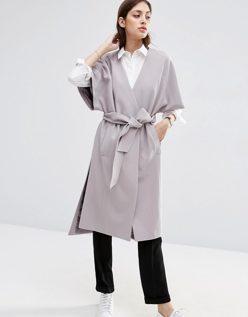 Duster Coat With Kimono Sleeve Light Grey - pattern: plain; collar: round collar/collarless; style: single breasted; length: on the knee; predominant colour: light grey; occasions: casual; fit: straight cut (boxy); fibres: polyester/polyamide - 100%; waist detail: belted waist/tie at waist/drawstring; sleeve length: half sleeve; sleeve style: standard; texture group: technical outdoor fabrics; collar break: medium; pattern type: fabric; season: s/s 2016; wardrobe: basic