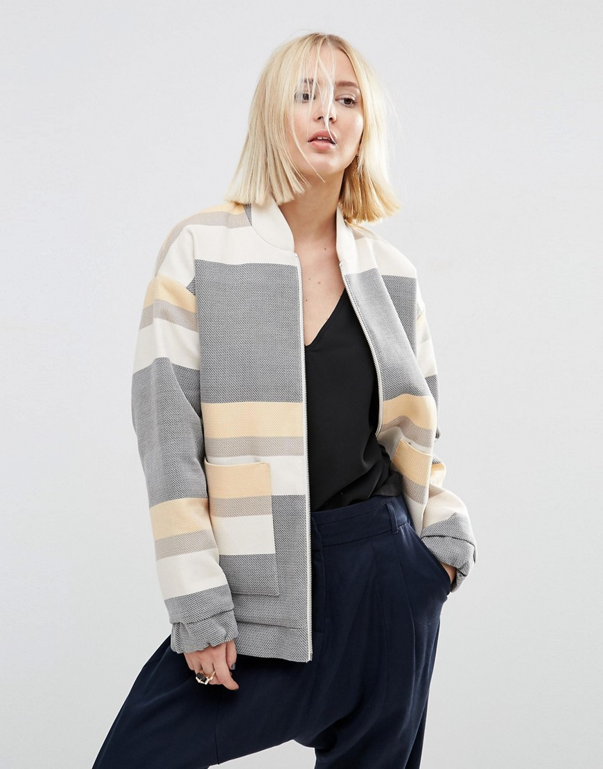 Stripe Bomber Jacket Multi - collar: round collar/collarless; length: below the bottom; style: bomber; secondary colour: nude; predominant colour: mid grey; occasions: casual, creative work; fit: straight cut (boxy); fibres: cotton - 100%; sleeve length: long sleeve; sleeve style: standard; collar break: high/illusion of break when open; pattern type: fabric; pattern size: standard; pattern: colourblock; texture group: woven light midweight; multicoloured: multicoloured; season: s/s 2016