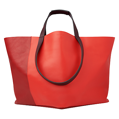 Java Oversized Tote Bag - predominant colour: true red; occasions: casual; type of pattern: standard; style: tote; length: handle; size: oversized; material: leather; pattern: plain; finish: plain; season: s/s 2016; wardrobe: highlight