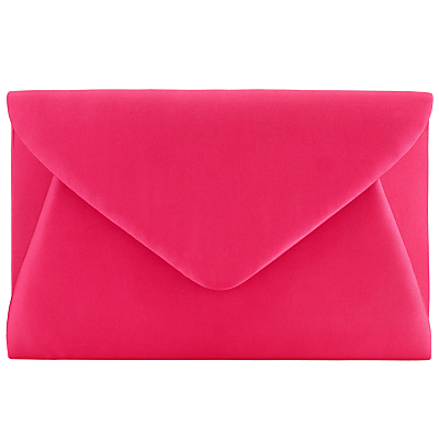 Fiona Satin Envelope Clutch, Pink - predominant colour: hot pink; occasions: evening, occasion; type of pattern: standard; style: clutch; length: hand carry; size: small; material: faux leather; pattern: plain; finish: plain; season: s/s 2016; wardrobe: event