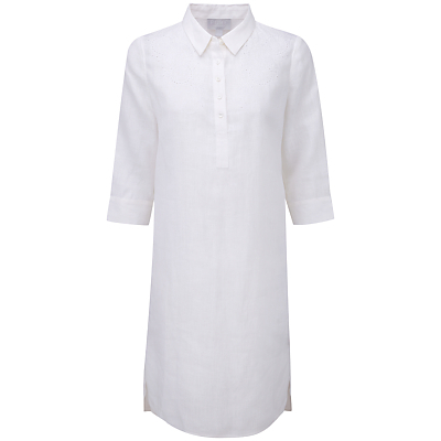 Naomi Embroidered Linen Tunic Dress, White - style: shirt; neckline: shirt collar/peter pan/zip with opening; pattern: plain; predominant colour: white; occasions: casual, holiday; length: on the knee; fit: body skimming; fibres: linen - 100%; sleeve length: 3/4 length; sleeve style: standard; texture group: linen; pattern type: fabric; season: s/s 2016; wardrobe: basic; embellishment location: bust