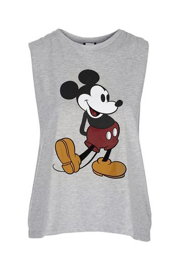 Drop Armhole Mickey Tank - neckline: round neck; sleeve style: sleeveless; predominant colour: light grey; secondary colour: black; occasions: casual; length: standard; style: top; fibres: polyester/polyamide - mix; fit: body skimming; sleeve length: sleeveless; pattern type: fabric; pattern size: light/subtle; pattern: patterned/print; texture group: jersey - stretchy/drapey; season: s/s 2016; wardrobe: highlight