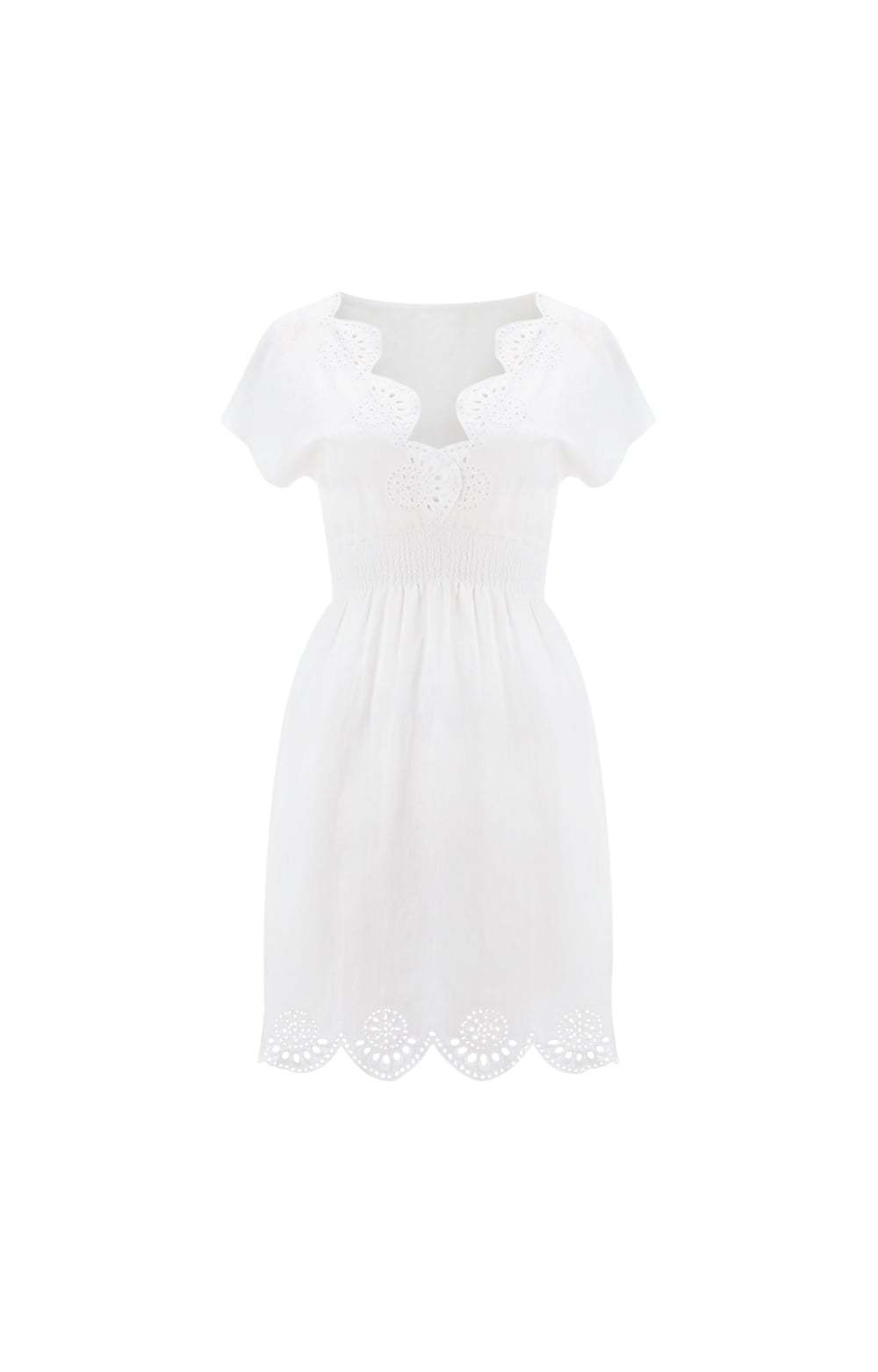 White Mykonos Cutwork Ruched V Neck Dress Size: - neckline: v-neck; pattern: plain; predominant colour: white; occasions: casual, holiday; length: just above the knee; fit: fitted at waist & bust; style: fit & flare; fibres: cotton - 100%; hip detail: soft pleats at hip/draping at hip/flared at hip; sleeve length: short sleeve; sleeve style: standard; texture group: cotton feel fabrics; pattern type: fabric; season: s/s 2016