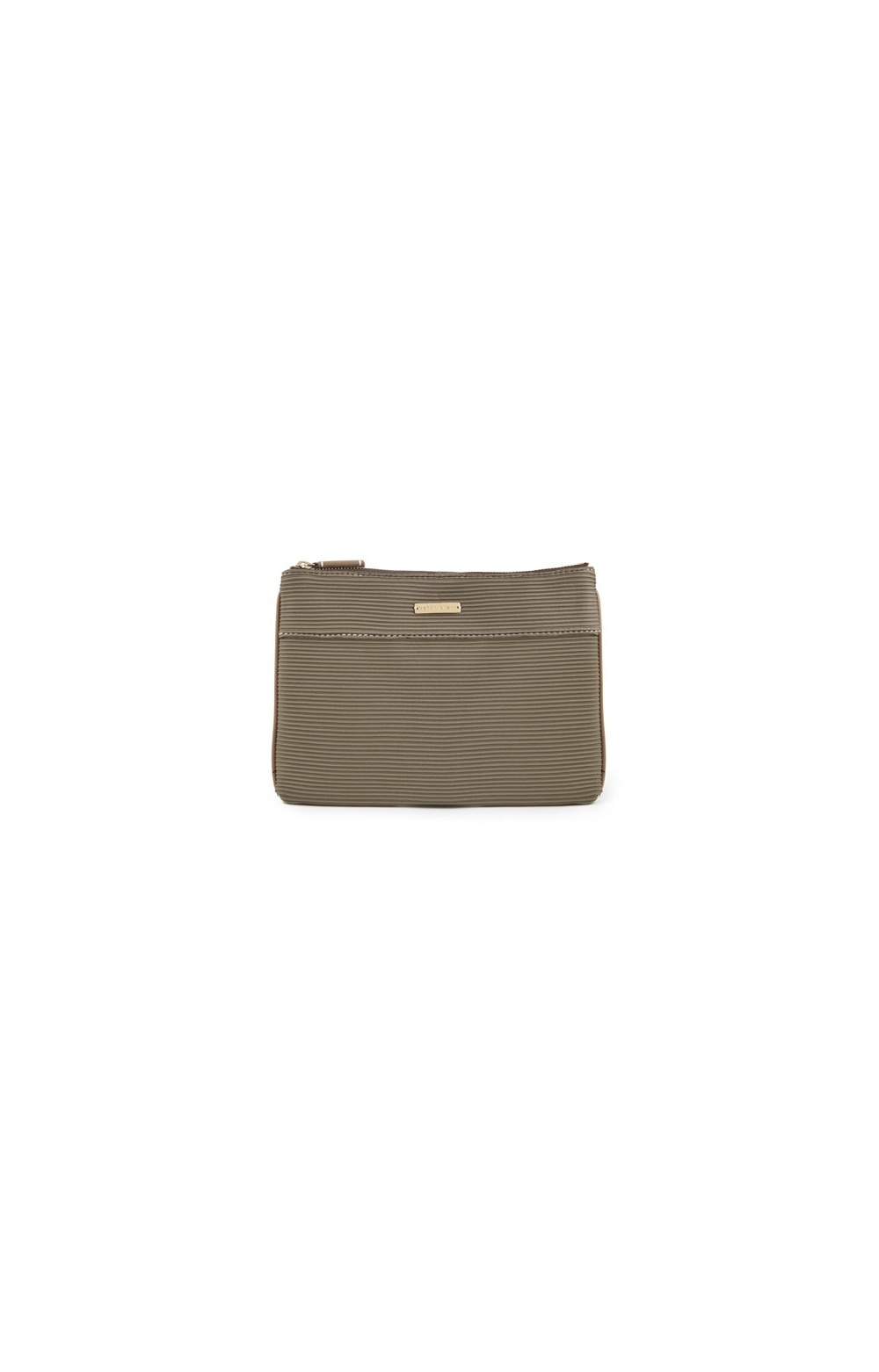 Green Mystique Flat Beauty Pouch In Olive - predominant colour: taupe; type of pattern: standard; style: clutch; length: hand carry; size: small; material: fabric; pattern: plain; finish: plain; occasions: creative work; season: s/s 2016; wardrobe: investment