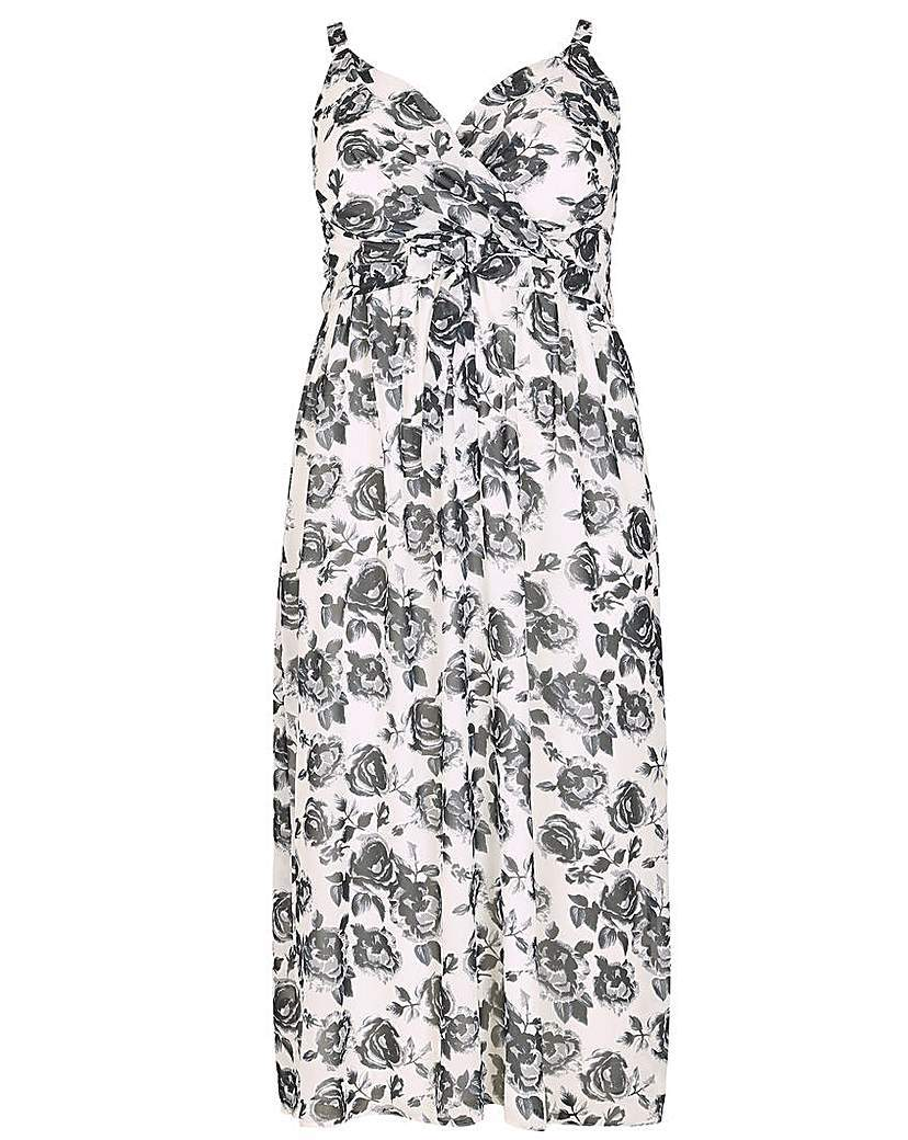 Emily Cross Front Maxi Dress - neckline: v-neck; sleeve style: sleeveless; style: maxi dress; length: ankle length; predominant colour: white; secondary colour: mid grey; occasions: casual; fit: body skimming; fibres: polyester/polyamide - 100%; sleeve length: sleeveless; pattern type: fabric; pattern: florals; texture group: other - light to midweight; season: s/s 2016; wardrobe: highlight