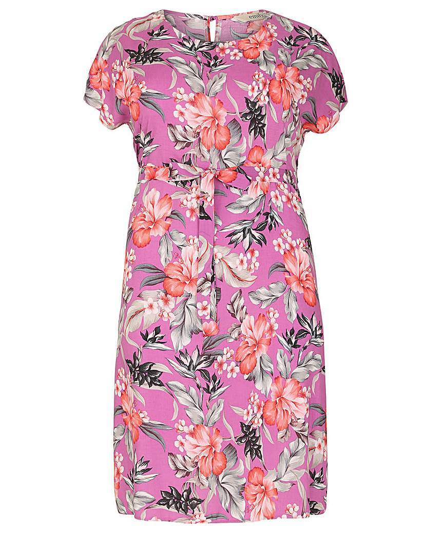 Emily Floral Side Split Dress - style: shift; neckline: cowl/draped neck; predominant colour: hot pink; secondary colour: black; length: just above the knee; fit: body skimming; fibres: viscose/rayon - 100%; sleeve length: short sleeve; sleeve style: standard; pattern type: fabric; pattern size: big & busy; pattern: florals; texture group: other - light to midweight; occasions: creative work; multicoloured: multicoloured; season: s/s 2016; wardrobe: highlight