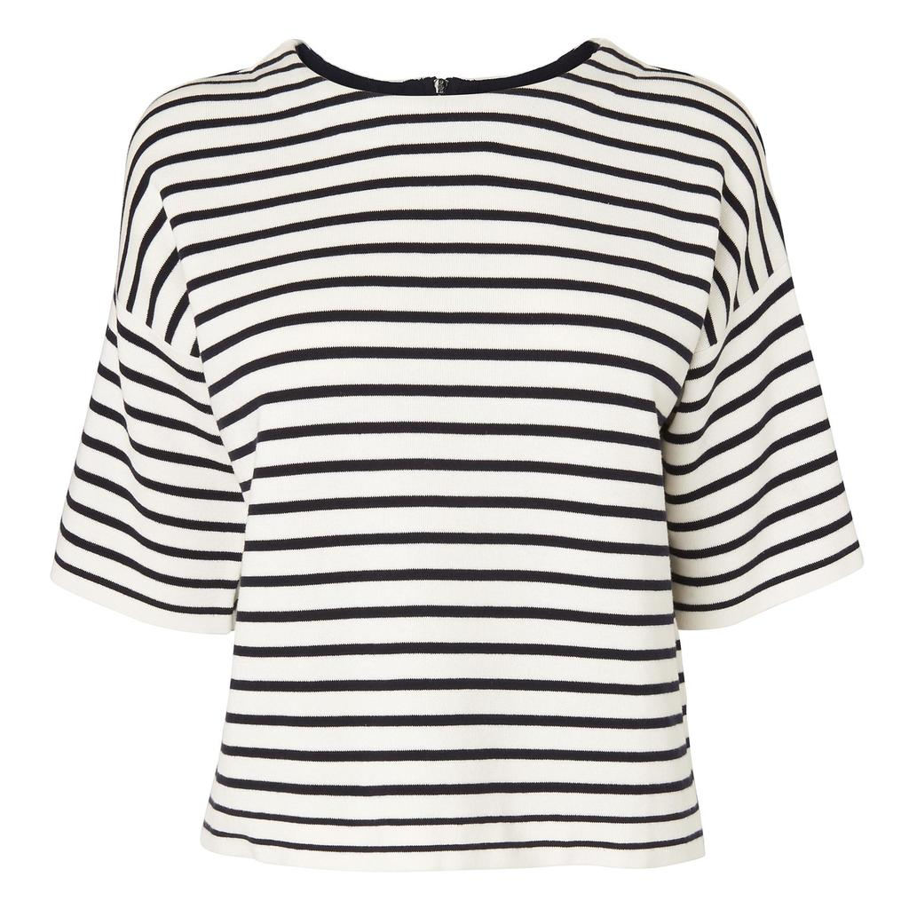 Sutton Silk Knit Top - pattern: horizontal stripes; predominant colour: white; secondary colour: black; occasions: casual; length: standard; style: top; fibres: silk - 100%; fit: body skimming; neckline: crew; sleeve length: short sleeve; sleeve style: standard; texture group: silky - light; pattern type: fabric; multicoloured: multicoloured; season: s/s 2016; wardrobe: basic