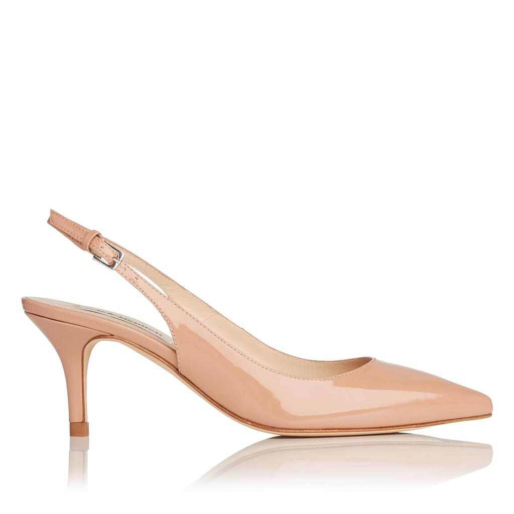 Florita Patent Fawn Sling Backs - predominant colour: nude; occasions: evening; material: leather; heel height: mid; heel: stiletto; toe: pointed toe; style: slingbacks; finish: patent; pattern: plain; season: s/s 2016; wardrobe: event