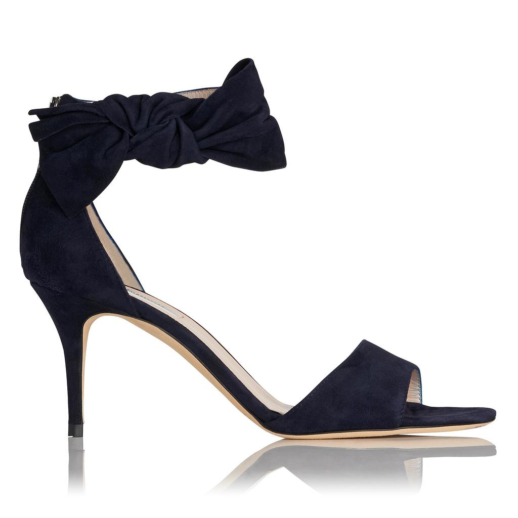 Agata Navy Suede Bow Sandals - predominant colour: navy; occasions: evening, occasion; material: suede; heel height: high; ankle detail: ankle strap; heel: stiletto; toe: open toe/peeptoe; style: standard; finish: plain; pattern: plain; embellishment: bow; season: s/s 2016; wardrobe: event