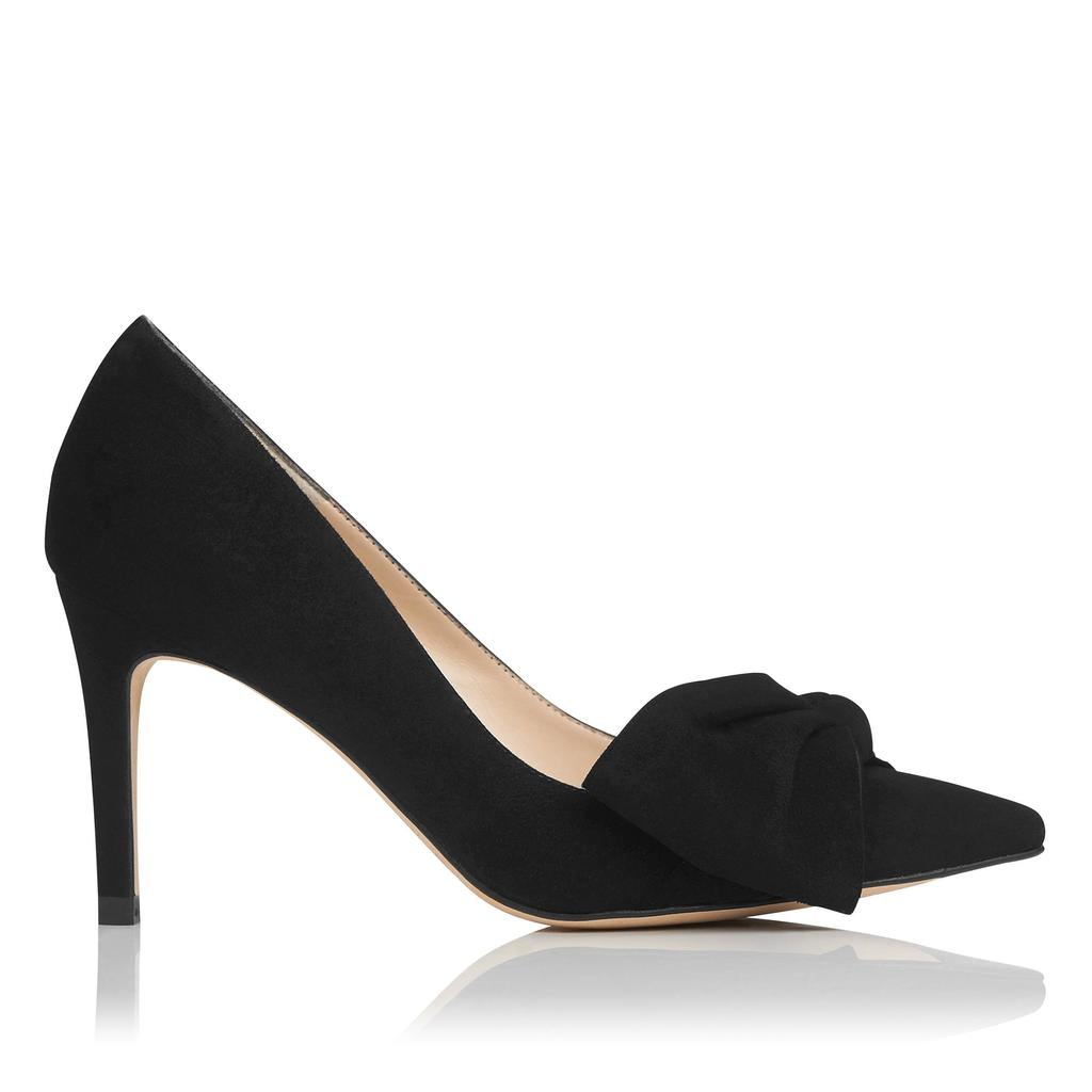 Caitlyn Black Suede Courts Black - predominant colour: black; occasions: evening; material: suede; heel height: high; heel: stiletto; toe: pointed toe; style: courts; finish: plain; pattern: plain; embellishment: bow; season: s/s 2016; wardrobe: event