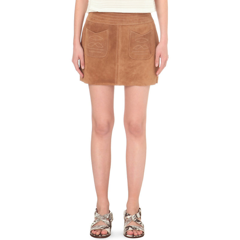 Modern Love Suede Skirt, Women's, Beige - length: mini; pattern: plain; fit: body skimming; waist: mid/regular rise; predominant colour: camel; occasions: casual; style: mini skirt; fibres: leather - 100%; pattern type: fabric; texture group: suede; season: s/s 2016; wardrobe: highlight