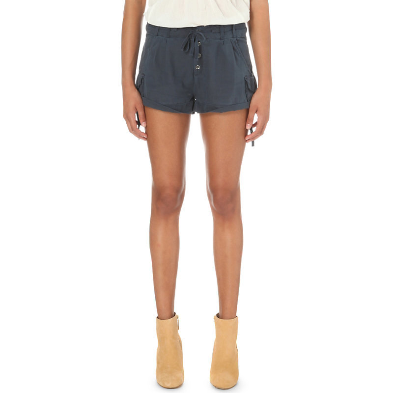 Melvin Turned Up Cuff Cotton Shorts, Women's, Blue - pattern: plain; waist detail: belted waist/tie at waist/drawstring; waist: mid/regular rise; predominant colour: navy; occasions: casual, holiday; fibres: cotton - 100%; texture group: cotton feel fabrics; pattern type: fabric; season: s/s 2016; style: shorts; length: short shorts; fit: slim leg; wardrobe: holiday