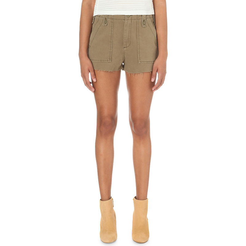 Gunner Stretch Cotton Shorts, Women's, Green - pattern: plain; waist: mid/regular rise; predominant colour: khaki; occasions: casual, holiday; fibres: cotton - 100%; texture group: cotton feel fabrics; pattern type: fabric; season: s/s 2016; style: shorts; length: short shorts; fit: slim leg; wardrobe: holiday