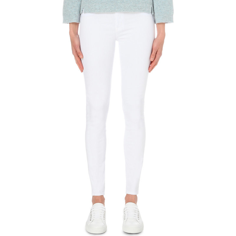 Nico Super Skinny Mid Rise Jeans, Women's, White 2 - length: standard; pattern: plain; style: jeggings; pocket detail: traditional 5 pocket; waist: mid/regular rise; predominant colour: white; occasions: casual; fibres: cotton - stretch; texture group: denim; pattern type: fabric; season: s/s 2016; wardrobe: highlight