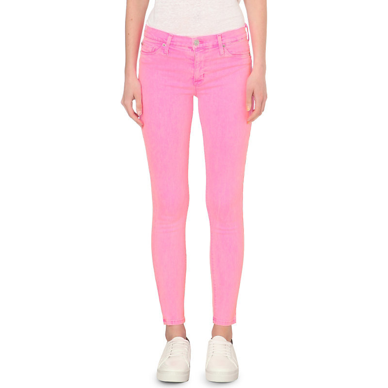 Nico Super Skinny Mid Rise Jeans, Women's, Luminous Pink - style: skinny leg; length: standard; pattern: plain; pocket detail: traditional 5 pocket; waist: mid/regular rise; predominant colour: pink; occasions: casual; fibres: cotton - stretch; texture group: denim; pattern type: fabric; season: s/s 2016; wardrobe: highlight