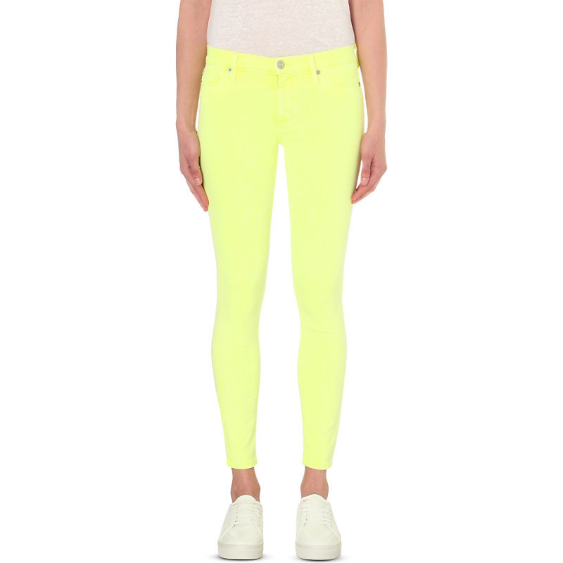 Nico Super Skinny Mid Rise Jeans, Women's, Luminous Yellow - style: skinny leg; length: standard; pattern: plain; pocket detail: traditional 5 pocket; waist: mid/regular rise; predominant colour: primrose yellow; occasions: casual; fibres: cotton - stretch; texture group: denim; pattern type: fabric; season: s/s 2016; wardrobe: highlight