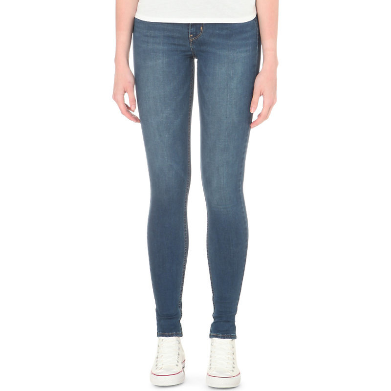 Innovation Super Skinny Mid Rise Jeans, Women's, Darling Blue - style: skinny leg; length: standard; pattern: plain; pocket detail: traditional 5 pocket; waist: mid/regular rise; predominant colour: denim; occasions: casual; fibres: cotton - stretch; jeans detail: whiskering, shading down centre of thigh; texture group: denim; pattern type: fabric; season: s/s 2016; wardrobe: basic