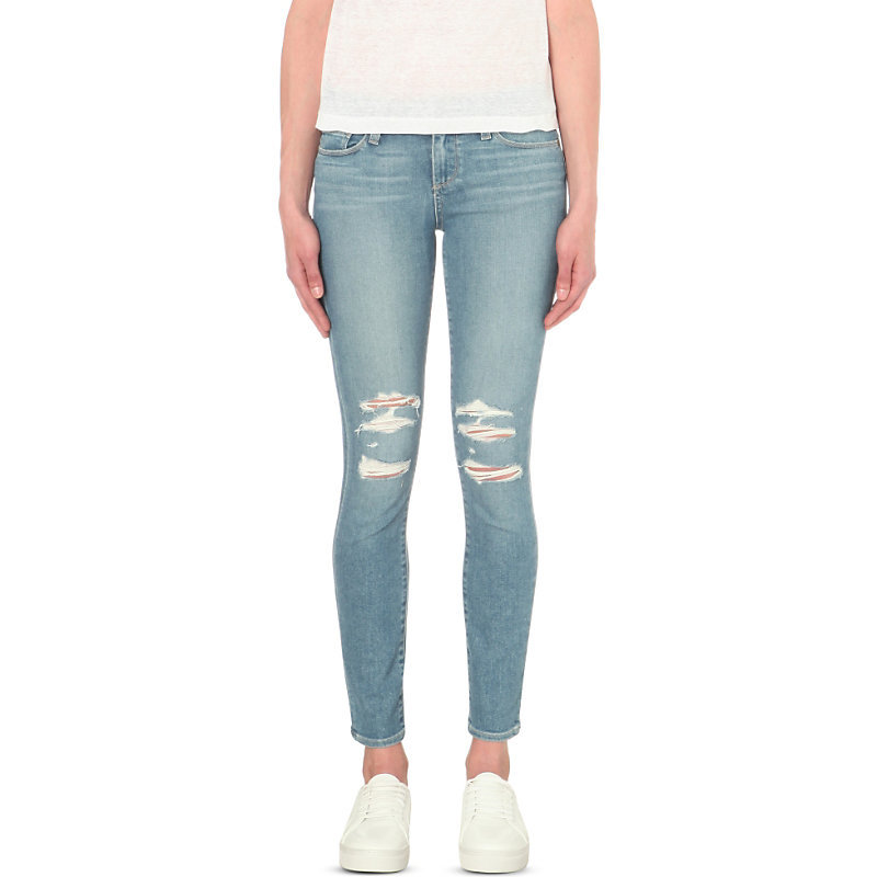 Skyline Ankle Peg Skinny Mid Rise Jeans, Women's, Liza Destructed - style: skinny leg; length: standard; pattern: plain; pocket detail: traditional 5 pocket; waist: mid/regular rise; predominant colour: denim; occasions: casual; fibres: cotton - stretch; jeans detail: shading down centre of thigh, washed/faded, rips; texture group: denim; pattern type: fabric; season: s/s 2016; wardrobe: basic