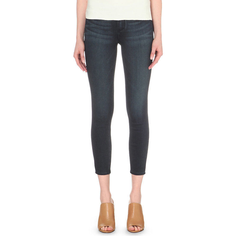 Verdugo Ultra Skinny Cropped Mid Rise Jeans, Women's, Mid Lake - style: skinny leg; pattern: plain; pocket detail: traditional 5 pocket; waist: mid/regular rise; predominant colour: navy; occasions: casual; length: calf length; fibres: cotton - stretch; jeans detail: dark wash; texture group: denim; pattern type: fabric; season: s/s 2016; wardrobe: basic