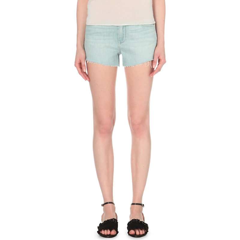 Keira Denim Shorts, Women's, Mari - pattern: plain; pocket detail: traditional 5 pocket; waist: mid/regular rise; predominant colour: pale blue; occasions: casual, holiday; fibres: cotton - stretch; texture group: denim; pattern type: fabric; season: s/s 2016; style: denim; length: short shorts; fit: slim leg; wardrobe: holiday