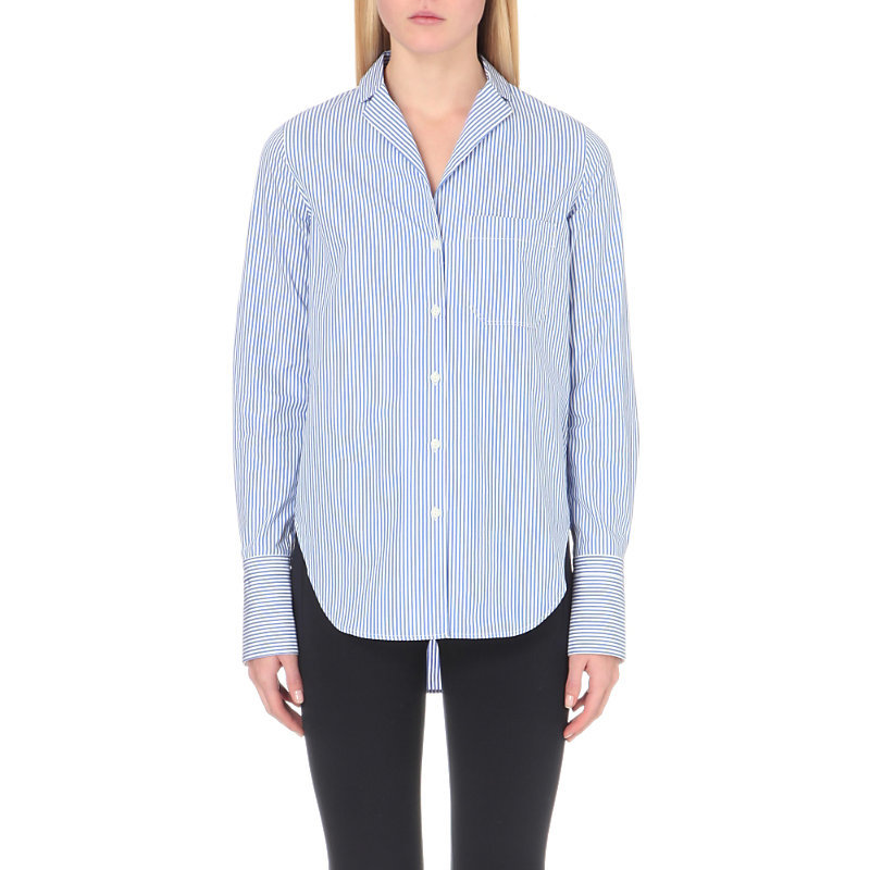 Ryder Striped Cotton Shirt, Women's, Size: Medium, Blue White - neckline: shirt collar/peter pan/zip with opening; pattern: striped; length: below the bottom; style: shirt; predominant colour: pale blue; occasions: casual, creative work; fibres: cotton - 100%; fit: straight cut; sleeve length: long sleeve; sleeve style: standard; texture group: cotton feel fabrics; pattern type: fabric; pattern size: light/subtle; season: s/s 2016