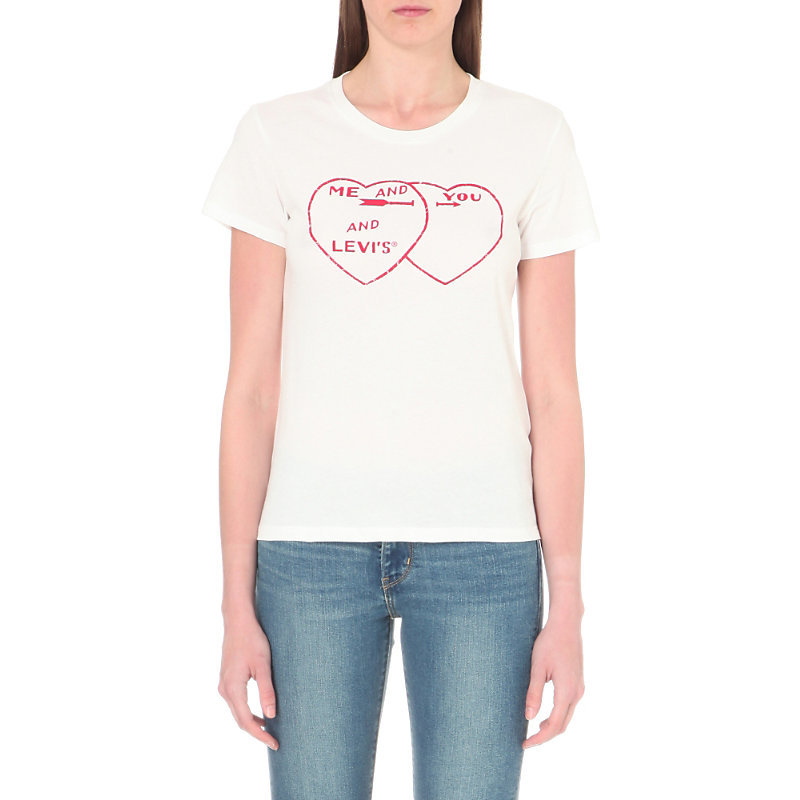 The Perfect Tee Heart Print Cotton Jersey T Shirt, Women's, Size: Large, You Me Levis White - neckline: round neck; style: t-shirt; predominant colour: white; occasions: casual; length: standard; fibres: cotton - 100%; fit: body skimming; sleeve length: short sleeve; sleeve style: standard; pattern type: fabric; pattern size: standard; texture group: jersey - stretchy/drapey; pattern: graphic/slogan; season: s/s 2016; wardrobe: highlight