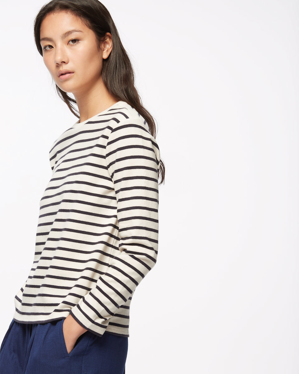 Cotton Breton Top - neckline: round neck; pattern: horizontal stripes; secondary colour: ivory/cream; predominant colour: black; occasions: casual, creative work; length: standard; style: top; fibres: cotton - 100%; fit: body skimming; sleeve length: long sleeve; sleeve style: standard; pattern type: fabric; texture group: jersey - stretchy/drapey; pattern size: big & busy (top); season: s/s 2016; wardrobe: basic