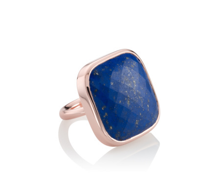 Rose Gold Vermeil Square Facet Ring Lapis - secondary colour: royal blue; predominant colour: gold; occasions: evening, occasion; style: cocktail; size: large/oversized; material: chain/metal; finish: metallic; embellishment: jewels/stone; season: s/s 2016; wardrobe: event