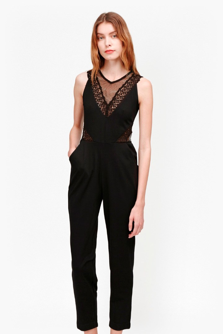 Savannah Mesh Jumpsuit Black - length: standard; pattern: plain; sleeve style: sleeveless; bust detail: sheer at bust; predominant colour: black; occasions: evening; fit: body skimming; fibres: viscose/rayon - stretch; neckline: crew; sleeve length: sleeveless; style: jumpsuit; pattern type: fabric; texture group: jersey - stretchy/drapey; season: s/s 2016; wardrobe: event