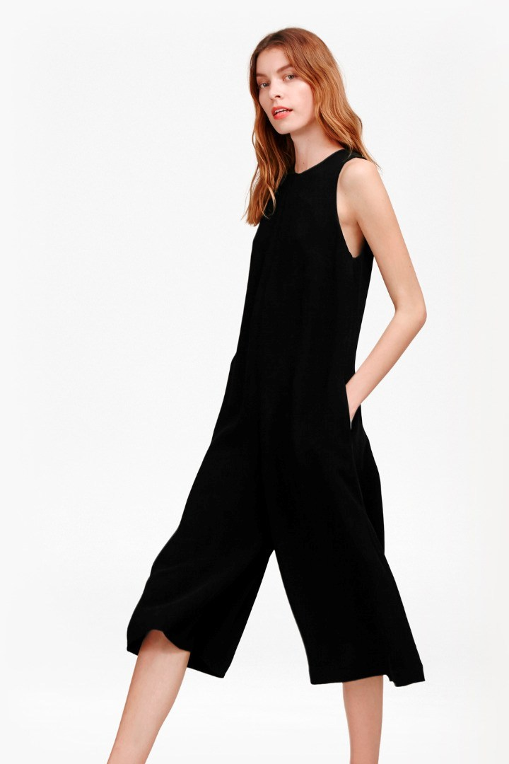 Evening Dew Jumpsuit Black - fit: loose; pattern: plain; sleeve style: sleeveless; predominant colour: black; occasions: evening; length: calf length; fibres: viscose/rayon - 100%; neckline: crew; sleeve length: sleeveless; style: jumpsuit; pattern type: fabric; texture group: jersey - stretchy/drapey; season: s/s 2016; wardrobe: event