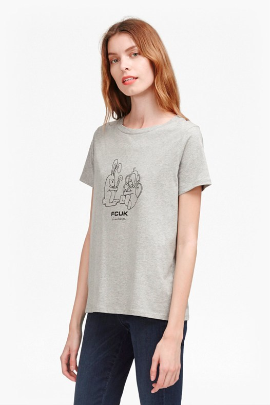 Fcuk Friendship T Shirt Light Grey Mel - pattern: checked/gingham; style: t-shirt; predominant colour: light grey; occasions: casual; length: standard; fibres: cotton - 100%; fit: body skimming; neckline: crew; sleeve length: short sleeve; sleeve style: standard; pattern type: fabric; texture group: jersey - stretchy/drapey; season: s/s 2016; wardrobe: highlight