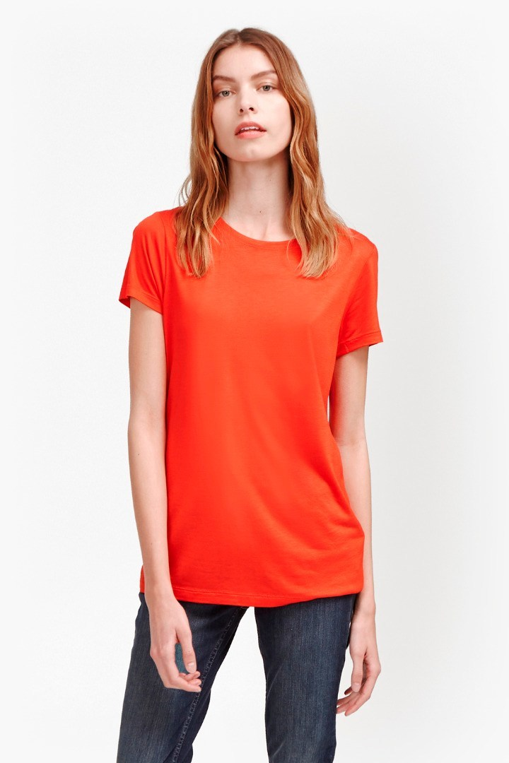 Vinny Jersey T Shirt Masai Red - pattern: plain; style: t-shirt; predominant colour: bright orange; occasions: casual; length: standard; fibres: viscose/rayon - 100%; fit: body skimming; neckline: crew; sleeve length: short sleeve; sleeve style: standard; pattern type: fabric; texture group: jersey - stretchy/drapey; season: s/s 2016; wardrobe: highlight
