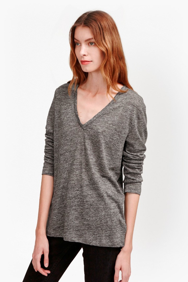 Laurel Linen Long Sleeve T Shirt Dark Grey Marl - neckline: v-neck; pattern: plain; style: t-shirt; predominant colour: mid grey; occasions: casual; length: standard; fibres: linen - 100%; fit: body skimming; sleeve length: long sleeve; sleeve style: standard; texture group: linen; pattern type: fabric; season: s/s 2016; wardrobe: basic