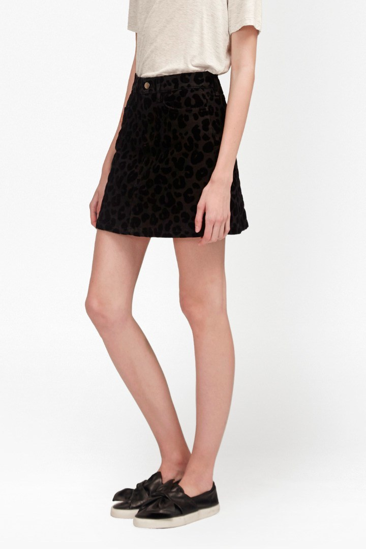 Snow Leopard Flock Mini Skirt Black/Black - length: mid thigh; pattern: plain; fit: loose/voluminous; waist: high rise; predominant colour: black; occasions: casual, creative work; style: a-line; fibres: cotton - mix; pattern type: fabric; texture group: brocade/jacquard; season: s/s 2016