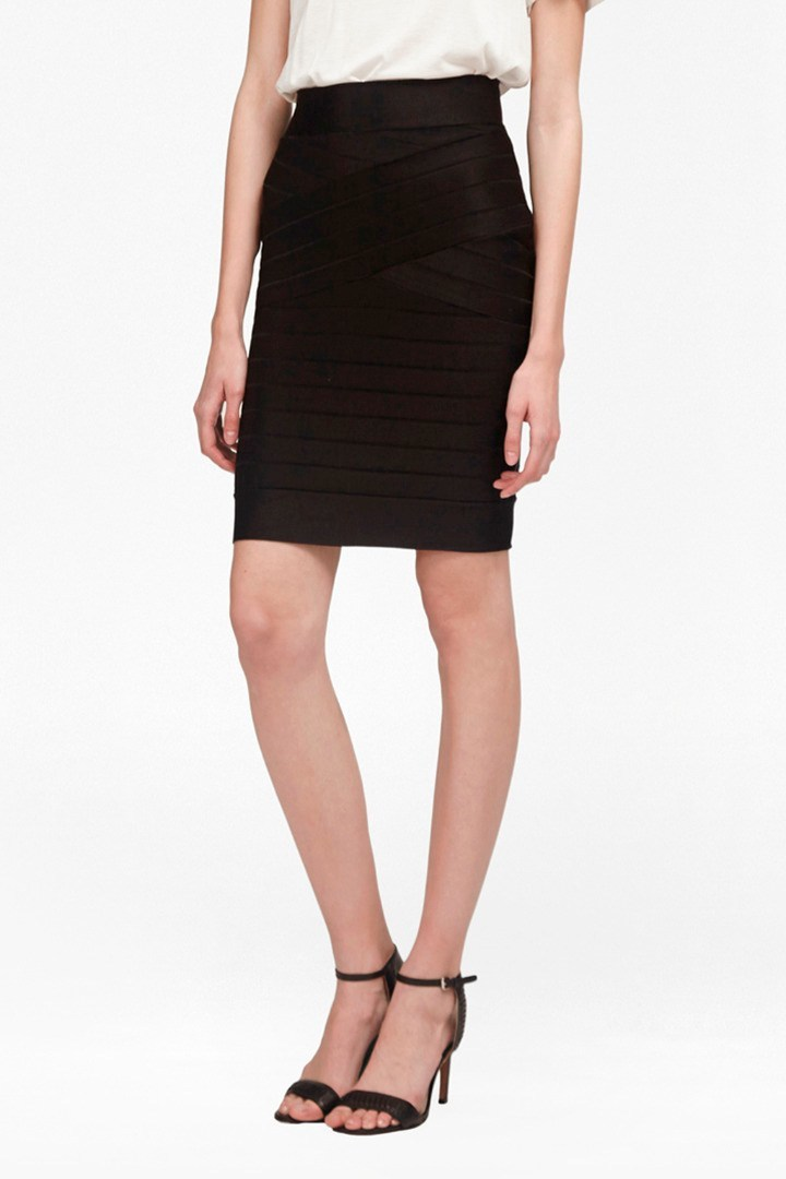 Spotlight Star Knits Skirt Black - pattern: plain; style: pencil; fit: tailored/fitted; waist: high rise; predominant colour: black; occasions: evening; length: just above the knee; fibres: viscose/rayon - stretch; pattern type: fabric; texture group: woven light midweight; season: s/s 2016; wardrobe: event