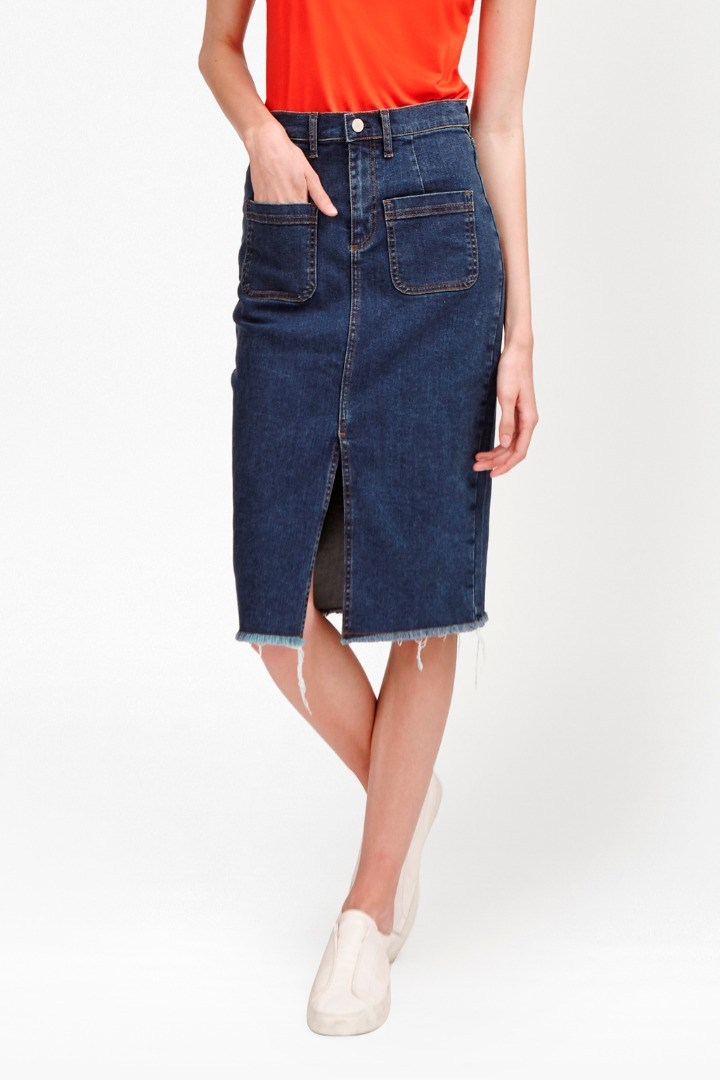 Poppy Denim Frayed Pencil Skirt Washed Indigo - pattern: plain; style: straight; waist: high rise; predominant colour: denim; occasions: casual, creative work; length: on the knee; fibres: cotton - 100%; texture group: denim; fit: straight cut; pattern type: fabric; season: s/s 2016; wardrobe: basic