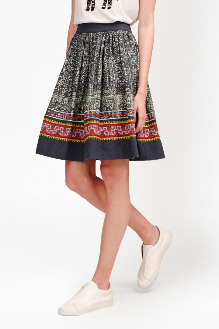 Lila Tile Linen Flared Skirt Indigo Multi - style: full/prom skirt; fit: loose/voluminous; waist: high rise; secondary colour: bright orange; predominant colour: black; occasions: casual, creative work; length: just above the knee; fibres: cotton - mix; pattern type: fabric; pattern: patterned/print; texture group: other - light to midweight; pattern size: standard (bottom); season: s/s 2016; wardrobe: highlight