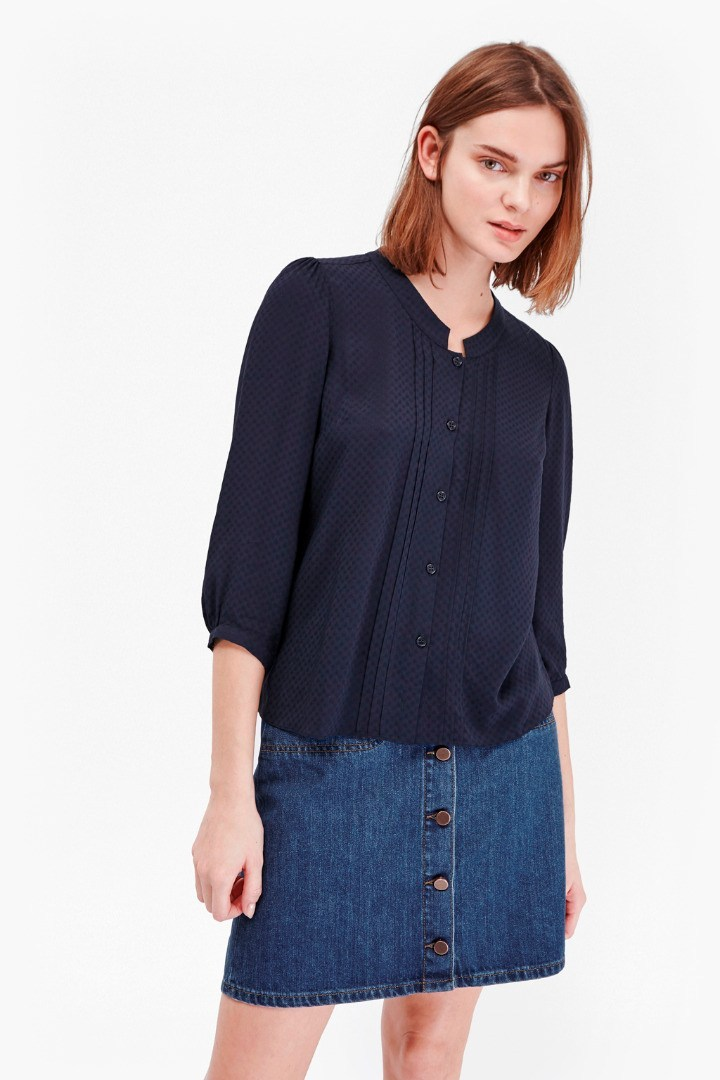 Empire Dot Embroidered Blouse Nocturnal - pattern: plain; length: below the bottom; style: blouse; predominant colour: navy; occasions: casual; neckline: collarstand & mandarin with v-neck; fibres: viscose/rayon - 100%; fit: body skimming; sleeve length: 3/4 length; sleeve style: standard; texture group: crepes; pattern type: fabric; season: s/s 2016; wardrobe: basic