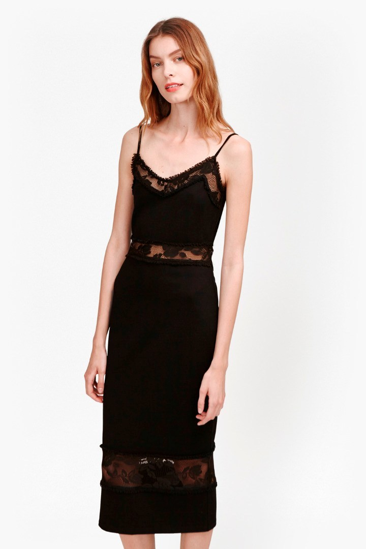 Lucky Layer Strappy Lace Dress Black - style: shift; length: below the knee; neckline: low v-neck; sleeve style: spaghetti straps; pattern: plain; bust detail: sheer at bust; predominant colour: black; occasions: evening; fit: body skimming; fibres: cotton - 100%; waist detail: cut out detail; sleeve length: sleeveless; pattern type: fabric; texture group: jersey - stretchy/drapey; embellishment: lace; season: s/s 2016