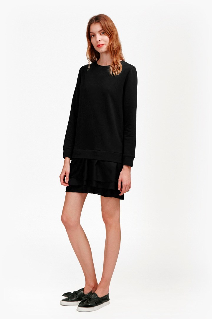 Tommy Pleated Georgette Sweatshirt Dress Grey Mel/Black - style: jumper dress; length: mid thigh; pattern: plain; predominant colour: black; occasions: casual; fit: body skimming; fibres: cotton - 100%; neckline: crew; hip detail: subtle/flattering hip detail; sleeve length: long sleeve; sleeve style: standard; pattern type: fabric; texture group: jersey - stretchy/drapey; season: s/s 2016; wardrobe: basic